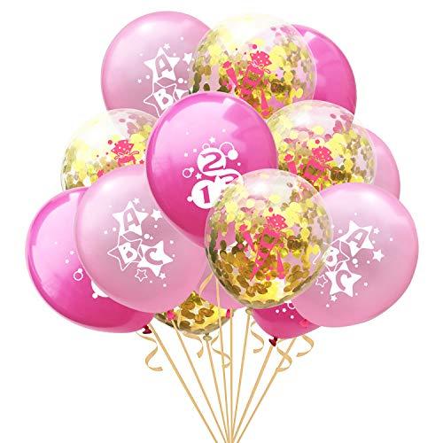 Oblique Unique® Konfetti Luftballon Set ABC 123 Zuckertüte für Schuleinführung Schulanfang Einschulung Schule Mädchen Deko Ballons im Rosa Gold