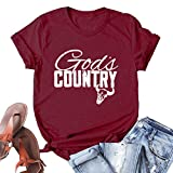 YourTops God's Country T-Shirt Graphic Shirt (US XL, 1-Wine Red)