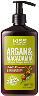 Kiss Color & Care Argan & Macadamia For Dry and Damaged Natural Hair Leave in Conditioner (13.5 fl. oz // 400 mL)