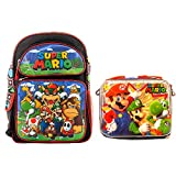 Super Mario Brothers Backpack Book Bag with Matching Lunch Box Travel Everyday bag pouch (16 inch w/Lunch Box)