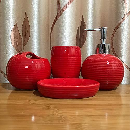 BYEON 4 Stück Keramik Voll Bad Zubehör-Set - Zahnbürstenhalter, Tumbler, Seifenschale, Pumpspender,Rot