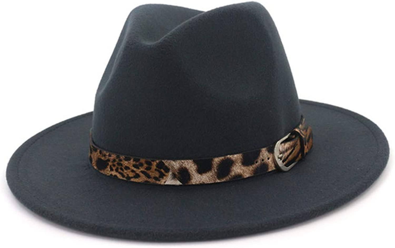 4e3559273209cb SANOMY Unisex Jazz Fedora Hat Plain Felt Hats Hats Hats Flat Brim Trilby  Buckle Decorated a1bd38