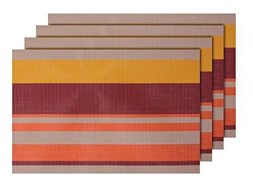 Alsino Lot de 4 Sets de Table (TS-99) Rayures rayé Orange Marron Beige. de qualité supérieure en PVC tressé: 45 x 30 cm. Le Set de Table a Un bel Aspect avec sa matière tissée et Brillante Élégante