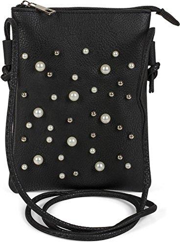 styleBREAKER Mini Bag Umhängetasche mit Perlen besetzter Vorderseite, Schultertasche, Handtasche, Tasche, Damen 02012241, Farbe:Schwarz