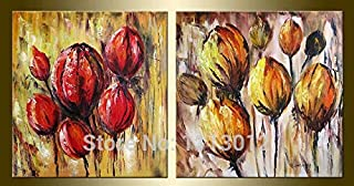 DIU Hand Painted Modern Abstract Canvas Oil Paintings Home Decoration 2 Panel Red Flower Set Wall Art Picture For Living R...