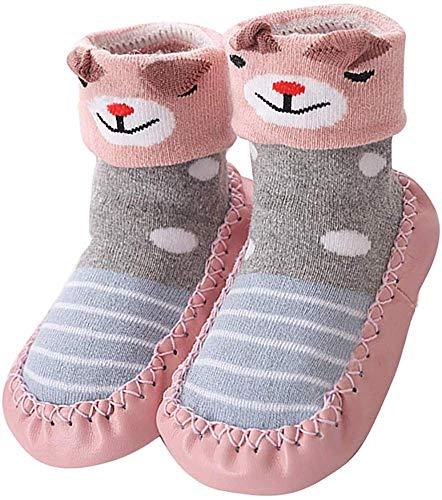 YUHUAWYH Bebé Muchachos Chicas Invierno Calzado Antideslizante Calcetines Zapatos niños Interiores pequeños Caminante Calcetines Zapatos para 0-24 Meses