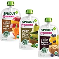 18-Pack Sprout Organic Stage 2 Baby Food Pouches Variety Pack (6 of each: Carrot Apple Mango, Blueberry Banana Oatmeal & Pear Kiwi Peas Spinach)