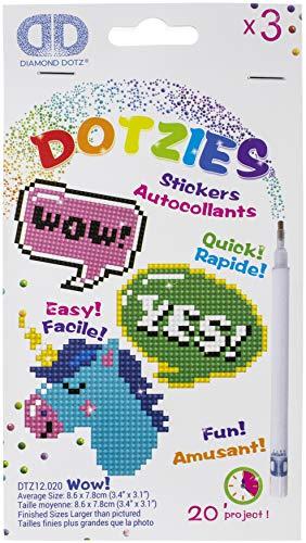 Pracht Creatives Hobby DTZ12-020 - Diamond Dotzies Sticker Set Wow, 3 glitzernde Aufkleber zum Selbstgestalten und Verzieren, ideal für Kinder und Anfänger
