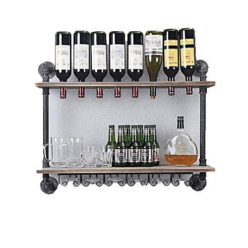 Wall-Mounted Wine Rack Industrial Rustic Wall Mounted Wine Racks,Double Layer Wall Storage Shelves, Multi-Function Display Shelf, Wine Rack Modern Design Wine Glasses Holder