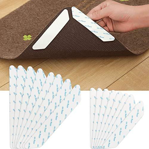 YANSHON Antirutschmatte für Teppich, 16 Stück Anti Rutsch Teppichunterlage, waschbar Teppichstopper, 3M Klebstoff Teppichgreifer Ecke, wiederverwendbar Teppichstopper Rutschschutz für Teppich