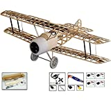S111 Radio Remote Controlled Electric Gasoline Gas Glow Powered Aircraft Biplane Sopwith Camel Wingspan 1520mm with Fiberglass Cowling Laser Cut KIT ;Need to Build Model for Adults (S1114)