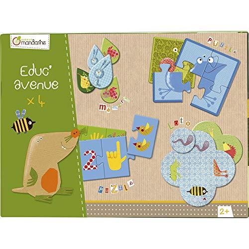 Avenue Mandarine 42810O - Une boite Educ'Avenue Jardin comprenant un Mémo 20 pièces, 10 puzzles 3 pièces, 8 puzzles 4 pièces et un Loto 4 planches et 16 jetons