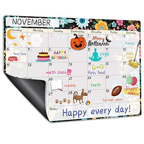 """Magnetic Calendar for Refrigerator - Fridge Calendar, Magnetic Dry Erase Calendar with Notes, Monthly Calendar Whiteboard, 16.9"""" x 11.8"""", Desk & Wall & Fridge Calendar/Planner - Black Floral"""