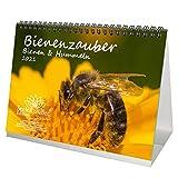 Tierzauber Bienen und Hummeln DIN A5 Tischkalender für 2021 - Geschenkset Inhalt: 1x Kalender, 1x Weihnachts- und 1x Grußkarte (insgesamt 3 Teile)