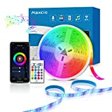 Alexa Tira LED RGB Wifi, Maxcio Luces LED Regulable Control de Voz y APP, Google Home Tira LED Sincroniza con la Música, 16 colores 150 Leds con Control Remoto, Decorativas para Fiesta, TV (5M)