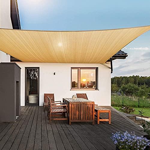 JAJ Toldo rectangular de 10 x 13 pulgadas, con protección UV, para césped, patio, patio, cochera, jardín, actividades al aire libre, color beige arena