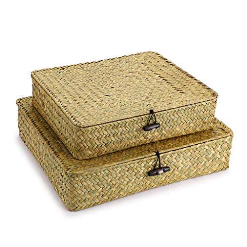 Hipiwe Set of 2 Flat Woven Wicker Storage Bins with Lid - Natural Seagrass Basket Boxes Multipurpose Home Organizer Bins Boxes for Shelf Organizer, Natural color