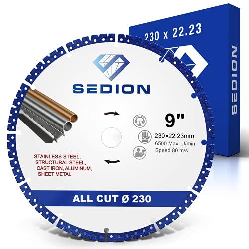 SEDION ® Disco de corte de diamante 230 mm - Disco de corte universal - Disco de diamante 230mm x22,23 - Disco flexible de diamante de primera calidad de Sedion - Para acero, hierro, aluminio,