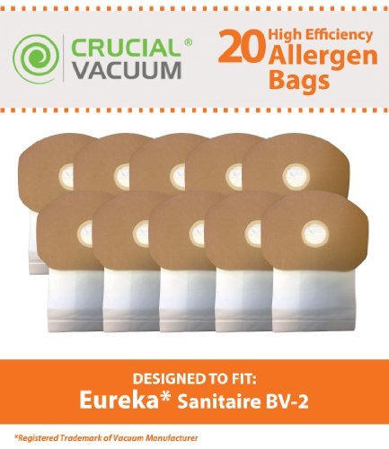 Crucial Vacuum Replacement Vacuum Bag – Compatible with Eureka Part # 62370, B352-2500 – Fits Models Eureka BV-2, Sanitaire, Backpack, Carpet Pro, Piranha, Tornado – Bulk (20 Pack)