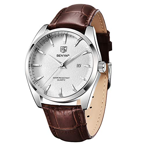 BENYAR Relojes Cuarzo de los Mejores Hombres - Reloj de Negocios Informal con Esfera de Cuero Impermeable para Hombres