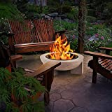Pozo de Fuego para el Jardín, 30' Chimenea Al Aire Libre con Barbacoa Neto/Hielo Pit/Brasero de Fuego de Leña/Tabla (4 en 1Fire Bowl & Grill) Imitación de Piedra Modelado