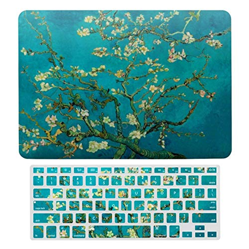 Vincent Van Gogh Blossoming Almond Tree Floral Plastic Hard Shell Case&Screen Protector with Keyboard Cover for MacBook Air 13