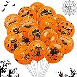 TaimeiMao Halloween Deko Set,60 Halloween Luftballons, Halloween Dekoration Ballons,Halloween Girlande,Halloween Latex Luftballons,Halloween Ballons,Latexballon,Folienballon (Orange)