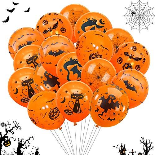 60 Decorazione Halloween Palloncini,Kit di Palloncini di Halloween,Foto Booth Props Halloween,Palloncino in Lattice,Palloncino Foil,Zucca Palloncini,Feste per Halloween Festival Fantasma (arancia2)