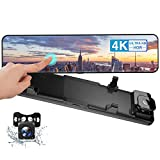 """CAMECHO 4K Mirror Dash Cam for Cars 12"""" Full Touch Screen Rear View Mirror Camera, 1080P Rearview Camera, 8MP Sony Sensor for Super Night Vision with Parking Assistance(2020 New Version)"""