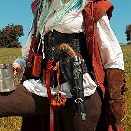 Mooke Funda Steampunk para Chispa - Guerrero Medieval PU Funda De Cintura De Cuero Pistola Soporte De Pistola Renacentista Pirata Caballero Vintage Cosplay Disfraz Accesorio