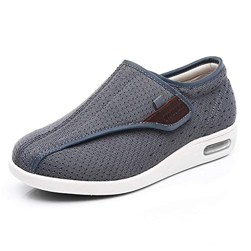 B/H Zapatos DiabéTicos para Hombre Ajustable,Zapatos para pie diabético, Zapatos valgus para Ancianos-Gray_42 🔥