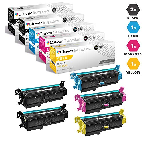CS Compatible Toner Cartridge Replacement for HP M570dn CE400A Black CE401A Cyan CE402A Yellow CE403A Magenta HP Color Laserjet PRO 500 M570 M570DN M570DW M551DN M551N M551XH M575C 5 Color Set