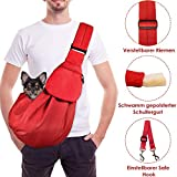 Lukovee Tragetuch Hund, Katze Haustier Hand Schleuderträger Schultertasche Verstellbare Gepolsterte Schultergurt mit Fronttasche hundetragebeutel Metro Outdoor (Rot)