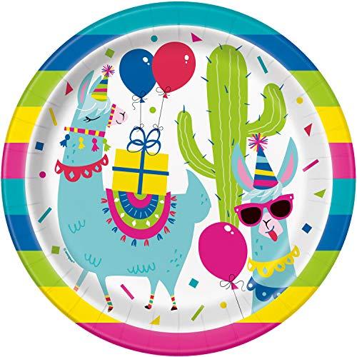 Unique Party- LOL Surprise Platos de Papel Ecológicos-23 cm-Fiesta de Cumpleaños de Llama-Paquete de 8, Multicolor (73225EU)