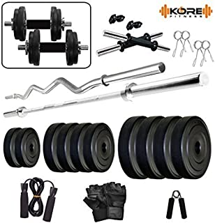 Kore PVC Combo 42-WB (8 Kg - 22 Kg) Home Gym Set with One 4 Ft Plain, One 3 Ft Curl and One Pair Dumbbell Rods Comes with Home Gym Accessories
