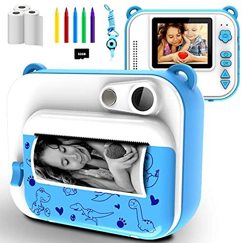 KinderKamera DigitalKamera Print Sofortbildkamera 1080P 2.0 Zoll Bildschirm Videokamera Schwarzweiß Fotokamera mit 32GB Speicherkarte,3 Rollen Druckpapier,5 Farben Pinselstift Geschenk für Kinder