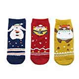 AKDSteel 3Pairs/Set Cartoon Christmas Style Children Thickened Low Tube Warm Socks Animal Party