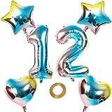 Globos con número 12, número 12, arco iris 12, 12, 80 cm, XL para niñas y niños, hinchables, forma de corazón