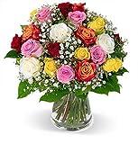 Blumenstrauß, bunter Rosenstrauß, bunte Rosen, Schnittblumen, Blumenversand, gratis Blumenvase, 7-Tage-Frischegarantie, versandkostenfrei bestellen