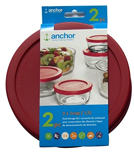 Anchor Hocking Replacement Lid 7 Cup / 1.7 L, Set of 2 lids, red Round