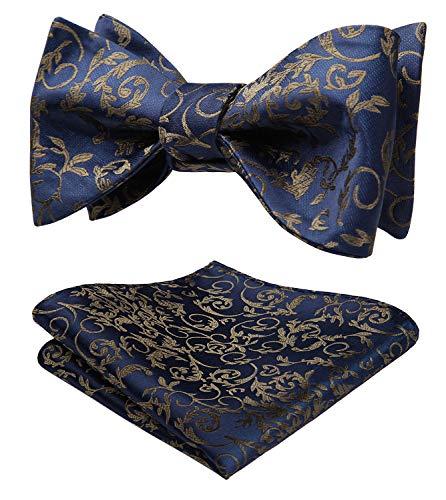 HISDERN Herren Selbst Blaue Fliege Floral Taschentuch Jacquard Hochzeitsfest Einstecktuch Set
