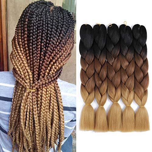 WIGENIUS 5er Jumbo Braiding Haarverlängerungen Kanekalon Synthetic Braiding Haar Ombre Crochet Braids Jumbo Braids Haar 24inch(schwarz dunkel/hell ertrinken)