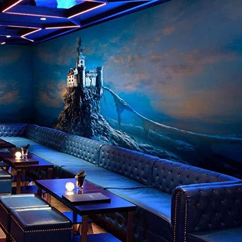 3D Tapete Blau Maggic Castle 3D Papel Wandbilder Wallpaper Für Wohnzimmer Hintergrund 3D Fototapeten Wall Paper-300 * 210Cm