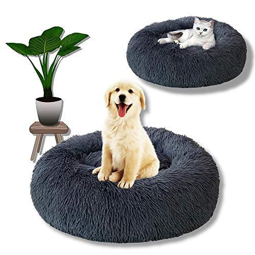 Letto per cani, cuccia per gatti, letto per cani rotondo, morbido, soffice e soffice, con ciambelle profonde, con fondo antiscivolo, grigio lavabile in lavatrice per un sonno migliore (19,7  x 7,9 )