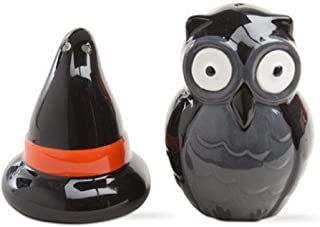 TAG Owl and Witch Hat Halloween Ceramic Salt and Pepper Shaker Set of 2