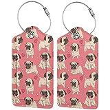 BCLYPBO Pug y etiquetas de equipaje de cuero de fondo rosa, etiquetas de equipaje, etiquetas de maleta de cuero PU con lazo de acero inoxidable 2 piezas conjunto