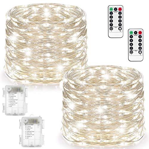 Lichtsnoer batterij, 100 leds lichtsnoer, 8 standen, buitenverlichting, werkt op batterijen, koperdraad, waterdicht, met afstandsbediening, voor binnen en buiten, kerstdecoratie, koud wit
