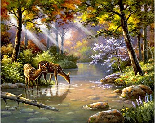 WAZHCY Bild durch Digitale Malerei Wald DIY Malerei durch Digitale Acrylfarbe durch einzigartige Geschenk Leinwand Malerei für Hauptdekoration Wandkunst 40x50 cm