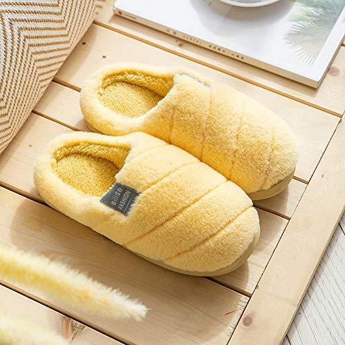 KIKIGO Pantofole Donna Uomo ,Pantofole da casa in Memory Foam, Pantofole Antiscivolo per Interni Invernali da Esterno-A Giallo Chiaro_42 / 43