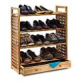 Relaxdays Schuhregal aus Walnussholz H x B x T: 81 x 70 x 27 cm - Schuhablage mit Schublade 4 Böden für je 3 Paar Schuhe, geölt / natur